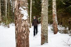 Young man cross-country skiing in the forest. Cross-country skiing: man cross-country skiing in the forest in winter Stock Photography