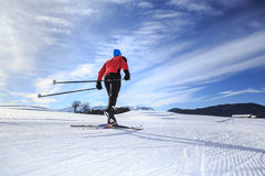 Cross-country skiing. A man cross-country skiing on the trail in Bavaria Stock Photo