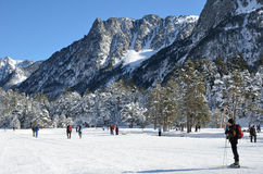 Cross country skiing in the Marcadau valley Royalty Free Stock Images