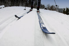 Cross-country skiing. Motion action shot of cross country skiing Stock Photos