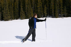 Cross Country Skiing in the Mountains Stock Images