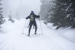 Cross-country skiing in the mountains in winter Stock Photo