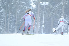 Cross country skiing in Nove Mesto na Morave. Cross country skiing in women 10 km race within cross country world cup held on Nove Mesto na Morave on 23. 1. 2015 stock photography
