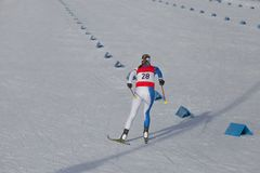 Cross country skiing race, woman skier Royalty Free Stock Photos