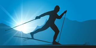 Cross-country skiing skier at a competition. vector illustration