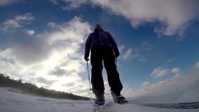 Cross country skiing on sunny winter day stock video footage