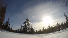Cross country skiing in Sweden time-lapse stock video