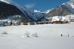Cross Country skiing in the Swiss Alps Royalty Free Stock Images