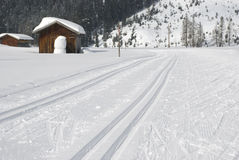 Cross country skiing tracks in winter landscape Stock Photography