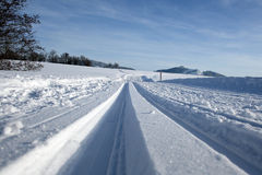The cross-country skiing trail. A cross-country skiing cross-country trail in winter in Bavaria (Germany Royalty Free Stock Photography
