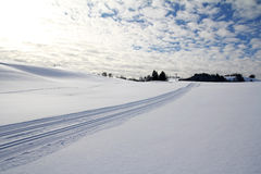 The cross-country skiing trail Stock Photo