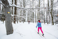 Cross-country skiing: two women cross-country skiing Royalty Free Stock Photography