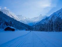 Cross-country skiing in winter, Spielmannsau valley, Oberstdorf, Allgau, Germany Royalty Free Stock Images