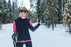 Cross-country skiing woman doing classic nordic cross country Stock Photos