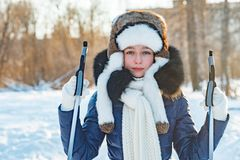 Cross-country skiing woman doing classic nordic cross country Royalty Free Stock Image