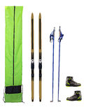 Cross-country skis, poles, boots and case Stock Photos