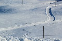 Cross country slope. In snowy mountain Royalty Free Stock Image