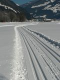 Cross-country track. A cross-country skiing track in the mountains Royalty Free Stock Photography