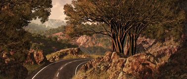 Cross Country Trip. A cross country highway landscape scene Stock Image