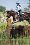 Cross-country. Unidentified rider on horse Royalty Free Stock Photos