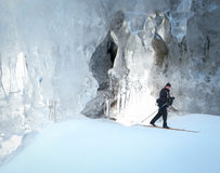 Cross county skiing ice cavern Stock Photos