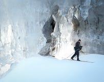 Cross county skiing ice cavern stock photos