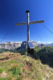 Cross on Crepa Neigra peak Stock Image