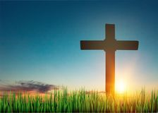Cross. Sunrise bright easter ascension background belief Stock Photo