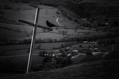 Cross and crow Royalty Free Stock Images