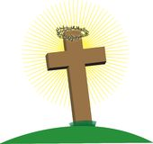 Cross with Crown of Thorns Royalty Free Stock Photography