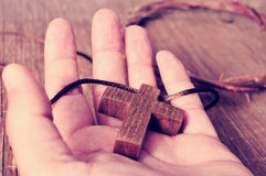 The cross and the crown of thorns, filtered Royalty Free Stock Photo