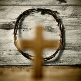 Cross and crown of thorns of Jesus Christ Royalty Free Stock Image
