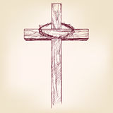 Cross and crown of thorns, a symbol of Christianity  hand drawn vector llustration Stock Photos