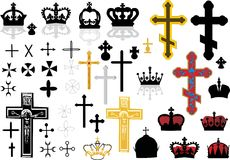 Cross and crowns set. Different cross collection isolated on white background Stock Photography
