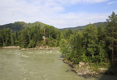 Cross with a crucifix on the island of the Katun River. Stock Photography