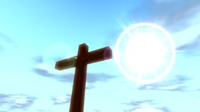 Cross crucifix with time lapse clouds blue sky and sun christian stock footage