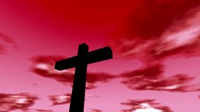 Cross crucifix with time lapse clouds red sky and sun christian rapture stock footage
