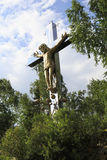 Cross with the crucifixion of Christ. Stock Image