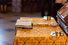 Cross, cup and bible Royalty Free Stock Image