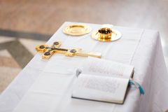 Cross, cup and bible Stock Photo