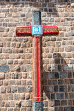 Cross in Cusco. Cross with a picture of Jesus on it in the San Blas neighborhood in Cusco, Peru Stock Image