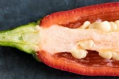 Cross cut of red chili pepper on dark background, macro Stock Photo