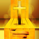 Cross on 3D step with banner Stock Photography