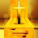 Cross on 3D step with banner. Gold Cross on 3D Step wit Golden Stripes vector illustration
