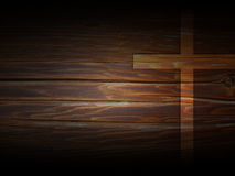 Cross on dark wooden texture. Cross against the dark wood texture with veins and pine knot Royalty Free Stock Photos
