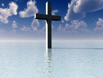 The Cross In Daytime Water 7. A conceptual image of the religious symbolic cross, in the water with a daytime background Stock Photos