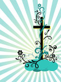 Cross with the decoration. Easter postcard with the religious symbol and the decoration Stock Photo