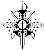 Cross on decoration with swords isolated Stock Image