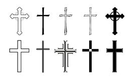 Cross. Different designs of grave crosses for obituaries Royalty Free Stock Photography