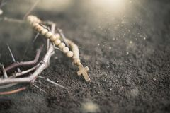 Cross on dirt. Cross wood nail the way square Royalty Free Stock Image